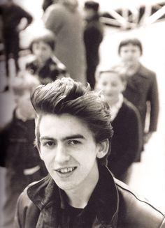 George Harrison in the spring of 1961 at the Rabenstraße Stop in Hamburg, by Jurgen Vollmer
