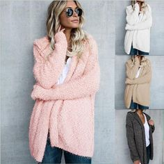 XQS Womens Winter Warm Fuzzy Long Sleeve Faux Fur Shaggy Jacket