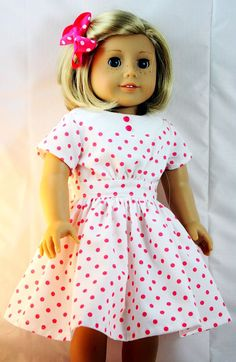 American Girl Doll Clothes Polka Dot by buttonandbowboutique