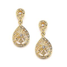"""Mariell Vintage Art Deco 14K Gold Plated Etched CZ Drop Fashion Earrings for Weddings or Bridesmaids. Mariell's Best Selling Vintage Earrings for Brides or Bridesmaids; Gorgeous Look of Real Gold Heirloom Jewelry with Meticulous Cubic Zirconia Detailing. Measures 1 3/8"""" h x 5/8"""" w; Genuine 14 Karat Gold Plating for Endless Shine and Durability with the Look of Fine Jewelry; Post with Comfort Disk Backs. Top Quality AAAAA Grade Cubic Zirconia for Diamond-like Brilliance; Elegant Antique…"""