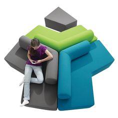 This is seriously cool.  Demco.com - HABA Bumerang Modular Sofa & Ottoman