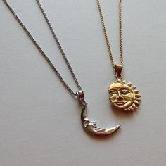 Sun & Moon 2 Necklace Set in Sterling Silver Yellow Gold Plated Sun and Rhodium Gold Plated Moon) Friendship Necklace, Sun and Moon Jewelry - Life from the sun, love from the moon. This unique sun & moon necklace set is handmade in 925 sterl - Sun And Moon Necklace, Necklace Set, Gold Necklace, Pendant Necklace, Nameplate Necklace, Cluster Necklace, Moon Jewelry, Cute Jewelry, Jewelry Accessories