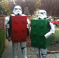 Storm troopers dressed as Legos for Halloween