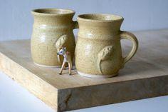 Two stoneware pottery coffee mugs  glazed in by LittleWrenPottery