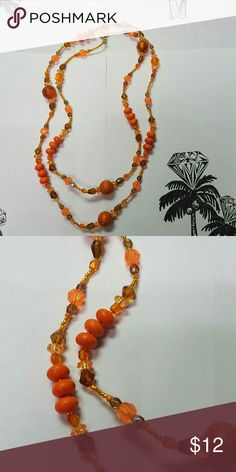 Orange Bead Necklace, J511 Multi colored Orange beads. New Hand Crafted Hand Crafted Artisan Jewelry Necklaces