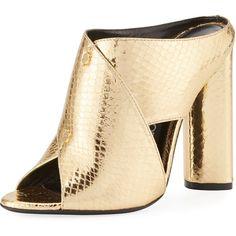 Tom Ford Snakeskin Crisscross 105mm Slide Sandal (€1.080) ❤ liked on Polyvore featuring shoes, sandals, heels, gold, tom ford shoes, slip-on shoes, slip on shoes, open toe sandals and metallic block heel sandals