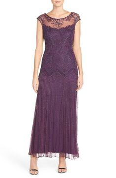 Pisarro Nights Beaded Illusion Yoke Mesh Dress (Regular & Petite) available at #Nordstrom