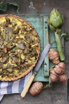 Torta rustica ai carciofi feta e topinambur