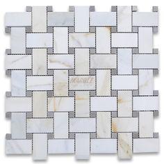 Calacatta Gold 1x2 Basketweave Mosaic Tile w/ Gray Dots Polished