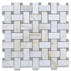 Calacatta Gold 1x2 Basketweave Mosaic Tile w/ Gray Dots Polished