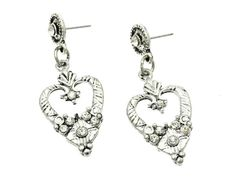 Antique Vintage Heart Crystal Silver Earrings Stud Post