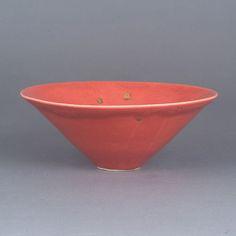 Conical Bowl, Porcelain, red glaze with gold flecks, impressed maker's seal Ceramic Studio, Ceramic Art, Pottery Marks, Contemporary Ceramics, Art Auction, Tea Pots, Planter Pots, Porcelain, Clay