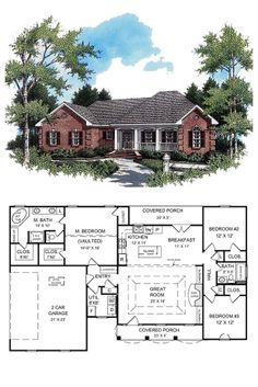 Colonial House Plan 59009 | Total living area: 1654 sq ft, 3 bedrooms & 2 bathrooms. This home features the most-requested and popular split-bedroom floorplan layout. Covered front and rear porches provide plenty of space for your family to relax after a long day. #houseplan #colonial