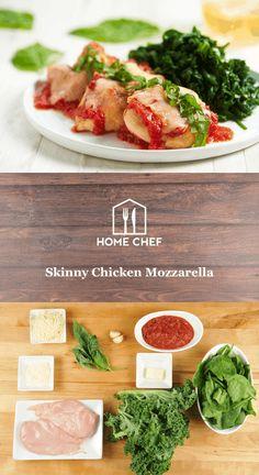 Skinny Chicken Mozzarella with basil marinara and garlicky greens