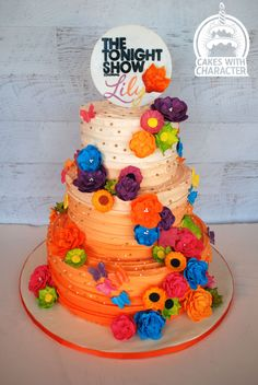 shabby chic styled cake done in orange ombre buttercream with fantasy and molded flowers. Airbrushed to match invitation. Gorgeous Cakes, Amazing Cakes, Lily Cake, Orange Ombre, Bat Mitzvah, Cake Designs, Designer Cakes, Birthday Cake, Sugar