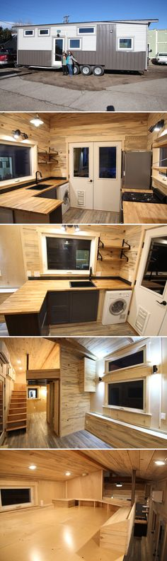 Pam by SimBLISSity Tiny Homes - Tiny Living - - With its beetle kill pine interior, the Pam by SimBLISSity Tiny Homes offers a rustic, cozy environment that fits perfectly in its Colorado destination. Building A Tiny House, Tiny House Plans, Tiny House On Wheels, Tiny House Company, Tiny House Listings, Tiny Houses For Sale, Little Houses, Small Space Living, Tiny Living