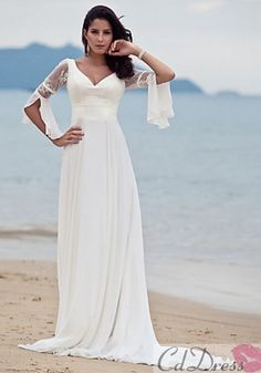 Cheap wedding dress with coat, Buy Quality wedding dress crafts directly from China dress bubble Suppliers: New 2016 Pincess Beach Wedding Dress Ivory Sweep/Brush Train V-neck Flare Sleeve Chiffon Plus Size Robe De Mariage Wedding Dress Train, Classic Wedding Dress, Casual Wedding, Wedding Gowns, Elegant Wedding, Elegant Bride, Backless Wedding, Timeless Wedding, Trendy Wedding