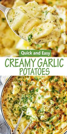 Oven baked creamy garlic potatoes are heaven sent! This super easy gluten free recipe tastes amazing and the simple creamy garlic sauce is to die for!! #ovenbakedpotatoes #roastpotatoes #sidedishes @sweetcaramelsunday