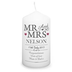 RRP £9.99 Personalise this Mr & Mrs Candle with a surname up to 15 characters, a date up to 20 characters and 3 lines of message, 15 characters per line