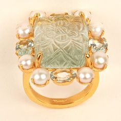 Ring with Carved Aquamarine, Fresh Water Pearls and Facted Aquamarine
