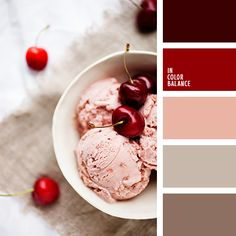 бежевый, бордовый, красно-коричневый, оттенки коричневого, оттенки красного, подбор цвета, серо-коричневый, темно-бордовый, цвет виски, цвет вишен, цвет вишневого мороженного, цвет вишни, цвет печенья, яркий вишневый, яркий красный.
