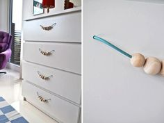 I have cabinets with really ugly handles. I can't find handles the same size to replace them, but this is an idea.