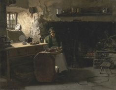 Frank Holl, 1845–1888, British, Peeling Potatoes, ca. 1880, Oil on canvas, Yale Center for British Art, Paul Mellon Fund