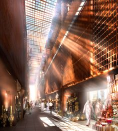 Aldar Central Market souk Abu Dhabi By Foster & Partners – render 06 Islamic Architecture, Interior Architecture, Wooden Architecture, Foster Architecture, Architecture Drawings, Abu Dhabi, Traditional Market, Foster Partners, Central Market