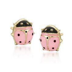 Child\'s 14kt Yellow Gold Ladybug Earrings