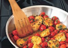 Sautéed Scallops with Cherry Tomatoes, Green Onions, and Parsley: Recipe: bonappetit.com