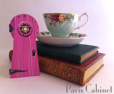 Pink Fairy Keyhole Door Miniature Elf Gnome Little by Paris Cabinet