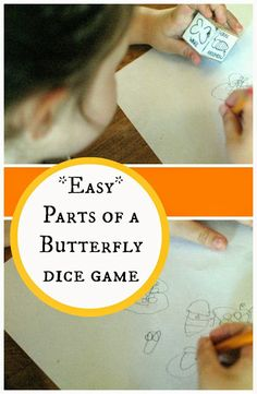 Parts of a butterfly  - fun dice game for learning about butterfly parts