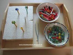 Kathy's Montessori Life: Pre Writing Ideas! Montessori Trays, Montessori Materials, Montessori Activities, Infant Activities, Kindergarten Activities, Activities For Kids, Preschool Lessons, Preschool Crafts, Education And Development