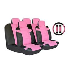 AutoSphere 124104twotonescpink Black and Pink Universal Fit Luxury Two Tone Pu Synthetic Leather Seat Cover Set Accent Superior with Steering Wheel Belt Pad 14 Piece ** ** AMAZON BEST BUY **
