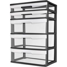 Sterilite 5 Drawer Wide Tower- Black - Walmart.com can be pulled apart, snapped back together, and stacked!