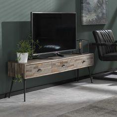 Teca - TV-bord med tre skuffer i patineret teak Living Tv, Living Room, Bar, Retro Vintage, New Homes, Architecture, Inspiration, Pier Import, Products