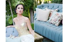 "bride in gold ""Serena"" wedding dress and fern floral crown, blue tufted couch with floral pillows by Revelry Event Designers - Photos by Junebug Weddings at the Junebug Fashion Forward Wedding Workshop at Vibiana"