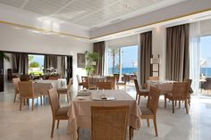 Beach Club at Vincci Estrella del Mar in Marbella, Spain. Wedding receptions here take place overlooking the beach and the ocean.
