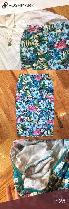 "✨NEW✨ Tropical Pencil Skirt Gently used, worn a few times |  Stretchy and fitted - bright & sexy! |  Perfect for a date night or going out |  Length is approx 25"" & waist is approx = 25.5"" 