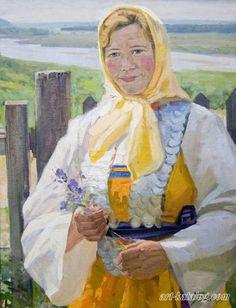 1960's 'Chuvashka' (Chuvashian Girl), by Gennady Grishin (Vyksa, Nizhny Novgorod region 1932~2009)