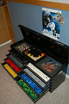 Toolbox storage for legos. @Karen Jacot Johnson this might come in handy :)