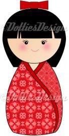 Full Color strijk applicatie Kokeshi Dottie rood, 15 x 7.5 cm  #DIY