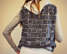 DIY basket weave old jeans to vest/jacket