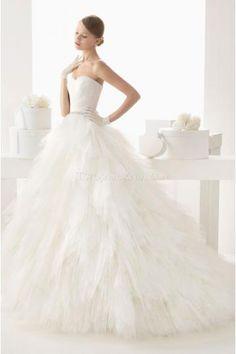 Elegant Sweetheart Ball Gown Tulle Wedding Dresses Chapel Train Bridal Dress
