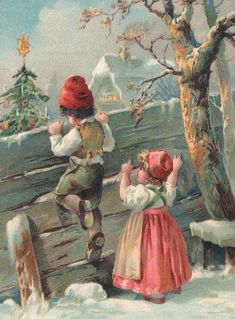 Christmas card by French School Xmas Greeting Cards, Vintage Greeting Cards, Vintage Christmas Cards, Vintage Postcards, Norway Christmas, Cottage Christmas, Christmas Scenes, Christmas Art, Christmas Card Pictures