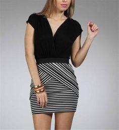 Black\ White 2fer Stripe Dresses