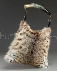 Fur Handbag / Purse with Horn - Lynx Fur