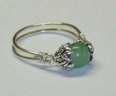 Aventurine Healing Bead Ring, Sterling Silver by LaurensGardenCottage on Etsy