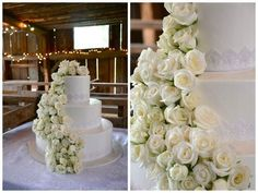 White on White....Waterfall of white roses cascading down this cake...beautiful! by www.flowersandstuff.com