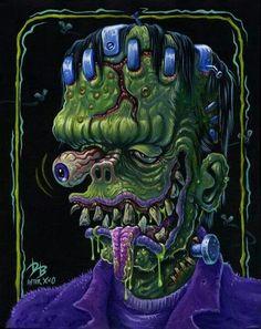Dave Burke Garbage Pail Kids, Lowbrow Art, Halloween Coloring, Monster Art, Vintage Cartoon, Horror Art, Frankenstein, Dark Art, Doodle Art